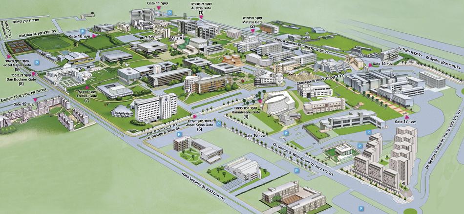 tel aviv university campus map אוניברסיטת ת א מפת התמצאות בקמפוס tel aviv university campus map
